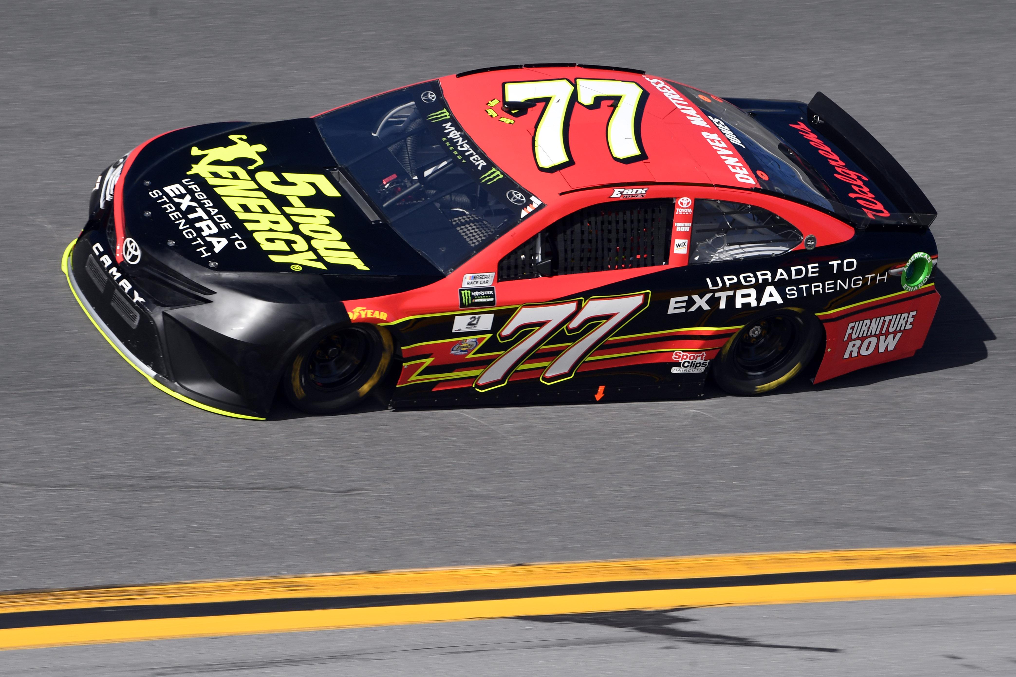 Feb 24, 2017; Daytona Beach, FL, USA; NASCAR Cup Series Driver Erik Jones  (77) During Practice For The Daytona 500 At Daytona International Speedway.